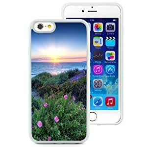 Beautiful Unique Designed iPhone 6 4.7 Inch TPU Phone Case With Pacific Sunset Flowers Shore_White Phone Case