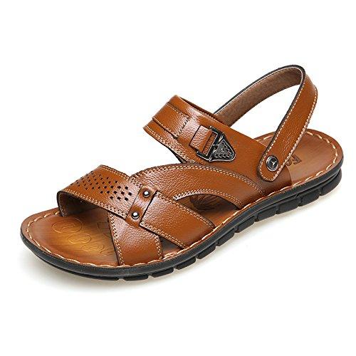 HGDR Men's Open Toe Sandals Leather Slip-On Sandals Summer Comfort Beach Shoes Sport Sandals Brown 86Q30f5