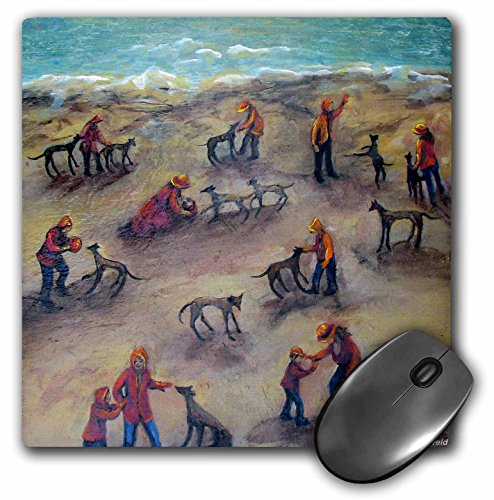 3dRose LLC 8 x 8 x 0.25 Inches Mouse Pad, Greyhound Weekend, Kids and Dogs Play at The Beach (mp_66328_1)
