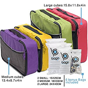 4 Travel Packing Cubes For Luggage Organizer / Suitcase + 6 Toiletry and Laundry Organizers (2_Large+2_Medium, (L)GreenRed(M)PurpleYellow)