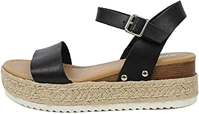 Ecolley Womens Flat Wedge Ankle Buckle Sandals with Strap Fashion Summer Beach Sandals Open Toe Espadrille Platform