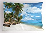 Lunarable Ocean Pillow Sham, Tropical Beach View with Exotic Palm and Clean Sand by The Sea Hawaii Paradise, Decorative Standard King Size Printed Pillowcase, 36 X 20 inches, Cream Blue Green