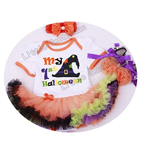 Halloween Pumpkin Romper Dress Jumpersuit+Headband+Shoes 3pcs Suit Bebe Infant Festival -