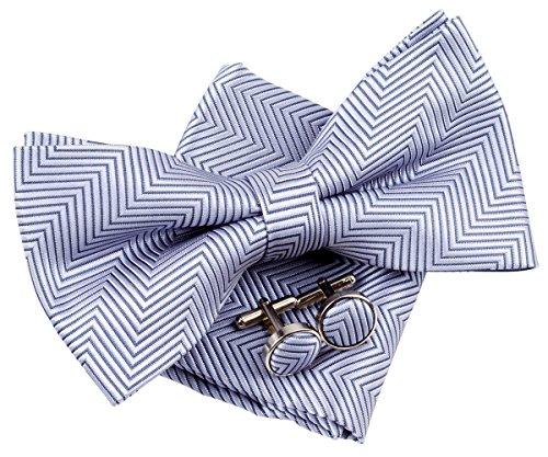 Bow Herringbone - Retreez Herringbone Stripe Woven Pre-tied Bow Tie (5