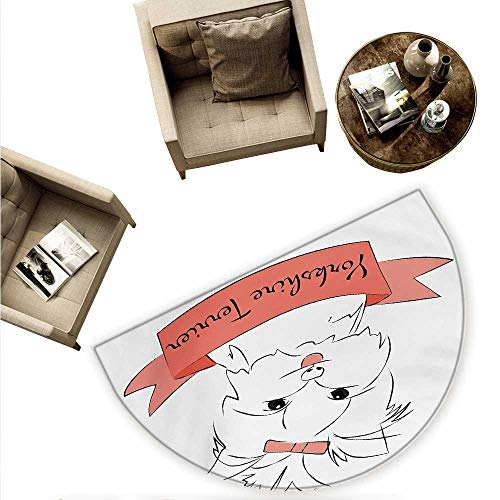 Yorkie Semicircle Doormat Cute Puppy with Hair Buckle Yorkie Terrier Animal Ribbon Cartoon Character Print Halfmoon doormats H 63