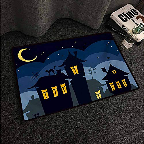 HCCJLCKS Modern Door mat Halloween Old Town with Cat on The Roof Night Sky Moon and Stars Houses Cartoon Art with Anti-Slip Support W24 xL35 Black Yellow Blue -