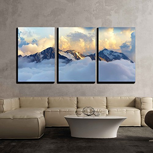Alpine Landscape with Peaks Covered by Snow and Clouds x3 Panels