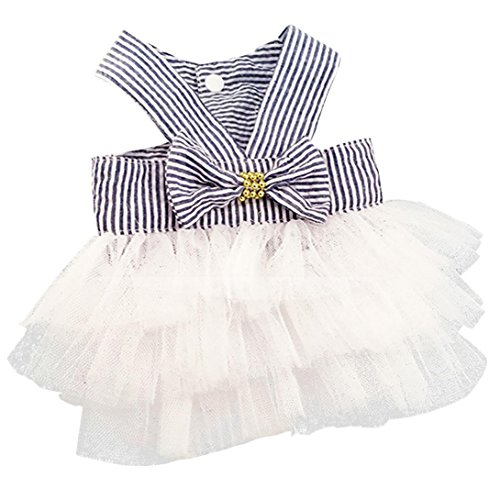 Boomboom Pet Clothes, Bubble Skirt Striped Lace Dress for Dog Princess Dresses for Dog (S, Navy)