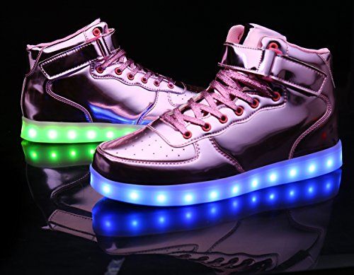 MOHEM ShinyNight High Top LED Shoes Light Up USB Charging Flashing Sneakers Shining Pink 5mA8bAcT