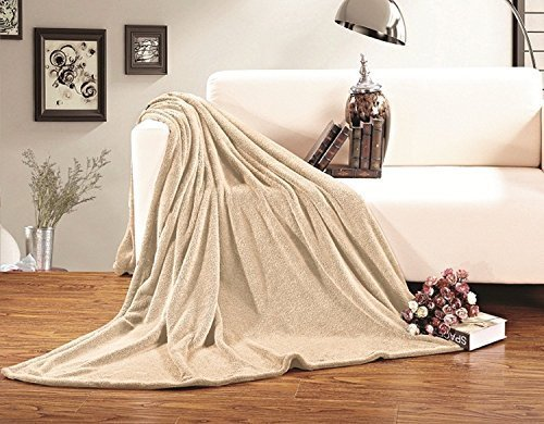Elegant Comfort Micro-Fleece Ultra Plush Solid Blanket, King/California King, Cream 63RW-Fleece-King-Cream