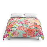 Society6 Antique Floral Print In Coral And Mint Tones Comforters Full: 79'' x 79''