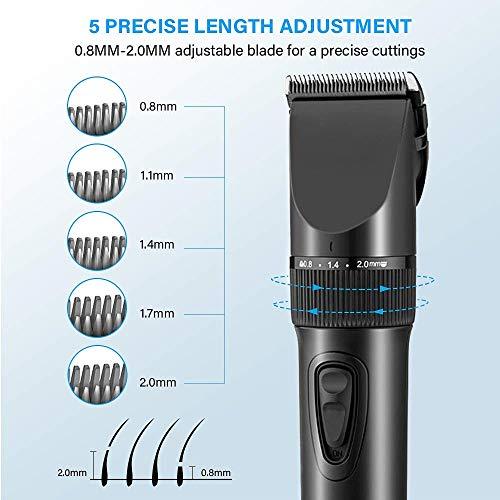 Haarschneider, Newday Haarschneider Herren Profi Haarschneidemaschine Elektrischer Bartschneider Haartrimmer Präzisionstrimmer Männer Wiederaufladbare USB, 2 Batterien Wiederaufladbar, 4 Kämm, Schwarz