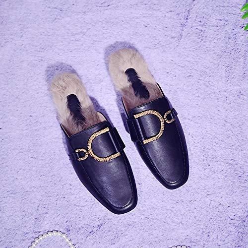 zapatos Zapatos Black Gtvernh Shoes Hebillas De Moda Women Baotou taladros Mujer Plaza Flat 100 Muller Juegos Zapatillas Outwear 0Bwq5FT