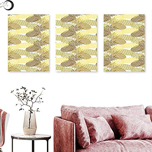 J Chief Sky Pineapple Home Decor Summer Themed Overlapping Curving Tropical Pineapples with Lines Print Triptych Photo Frame Gold Bronze White Triptych Art Canvas W 12
