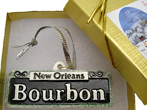 New Orleans Christmas Ornament Bourbon St. Street Sign Tree In GIFT BOX w/ Bow & Tag decor decoration travel tree Wedding favor NOLA French Quarter THeme Party supplies souvenir Louisiana favor]()