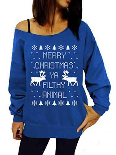 de pared Navidad larga de las de de oscilación de del los Bambi de Navidad la reno la de Traje la Blue Scothen copos Santa manga mujeres retro del reno la el con suéter de de nieve Traje suéter del jersey qWpIw6A8