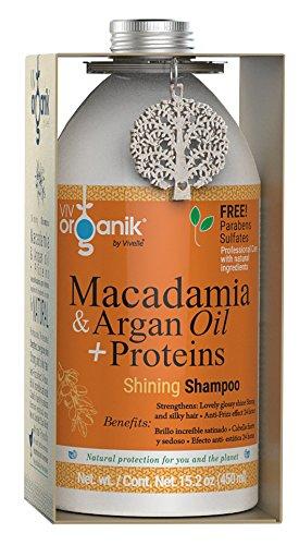 Vivorganik Shining Shampoo con Macadamia, Aceite de Argán y Proteínas, 450 ml