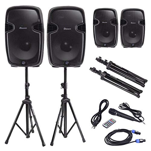 """ZiXHiLL Dual 12"""" 2-Way 2000W Powered Speakers w/Bluetooth, used for sale  Delivered anywhere in USA"""