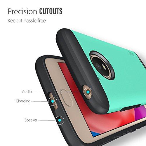 Moto E4 Funda, Caja protectora TUDIA MERGE TAREA PESADA Protección EXTREME de doble capa para Motorola Moto E4 (Oro Rosa) Menta