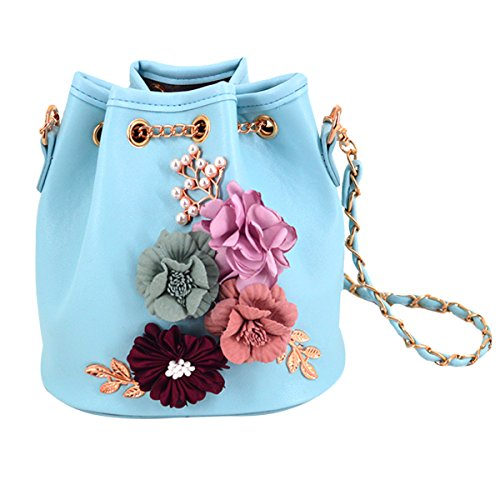 Chain with Bag Messager Cross body Satchel Floral Synthetic With Bucket Mini Leather Meliya Bag Shoulder Flower Embroidery Women Bag Fashion Blue Drawstring w7xAqWa4U