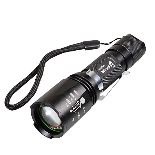 WindFire® S11 2000 Lumen Flashlight 5 Modes Waterproof Cree T6 XM-L U2 L2 Led Zoomable Camping 18650 Battery Rechargeable Torch Flash Light Lamp With Clip and Lanyard Strip+ 2pcs 18650 Li-ion 3.7v Battery + 18650 Dual Charger for Hunting, Fishing
