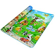 Lightweight Waterproof Sandproof Outdoor Blanket Picnic Mat Dinosaur Animal Car Pattern Baby Crawled Mat Yoga Sleeping, Double-faced All-Purpose Foldable Blanket With Carrying Case,Perfect For Outside Picnic, Beach, Traveling, Camping, Hiking Multigreen (83 x 70 x 0.25 Inches)