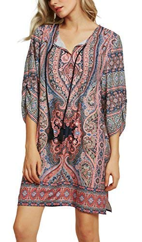 Women Bohemian Neck Tie Vintage Printed Ethnic Style Summer Shift Dress (2XL, pattern22) from Urban CoCo