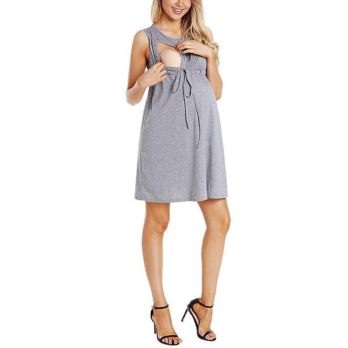 5c57a9a3fd96b Riverdalin Women Maternity Nursing Dress Pregnancy Short Sleeve Midi Dress  Breastfeeding Baby T-Shirt Dress