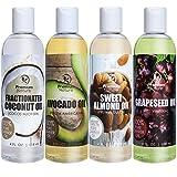 All Natural Coconut Oil, Castor Oil, Grapeseed Oil, Avocado Oil, & Sweet Almond Oil, Carrier Oils Variety Pack, For Skin & Hair, 4fl oz, By Premium Nature