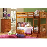 Discovery World Furniture Mission Twin Over Twin Bunk Bed with Trundle, Desk, Hutch, Chair and 5 Drawer Chest in Honey Finish