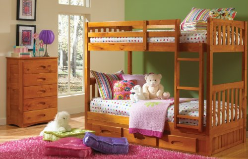 Discovery World Furniture Mission Twin Over Twin Bunk Bed wi