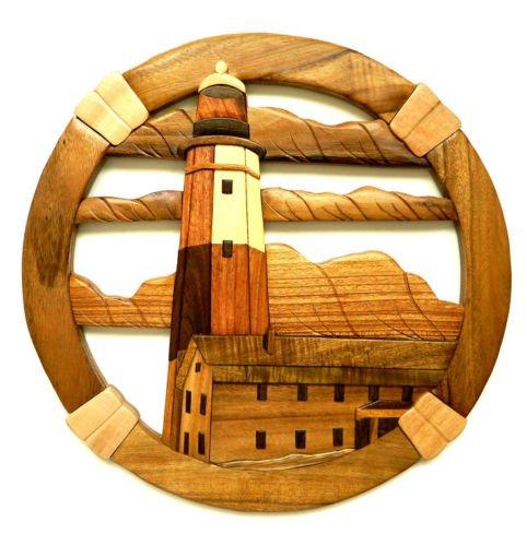 (Montauk Point Lighthouse Intarsia Wood Wall Art Home Decor Plaque)