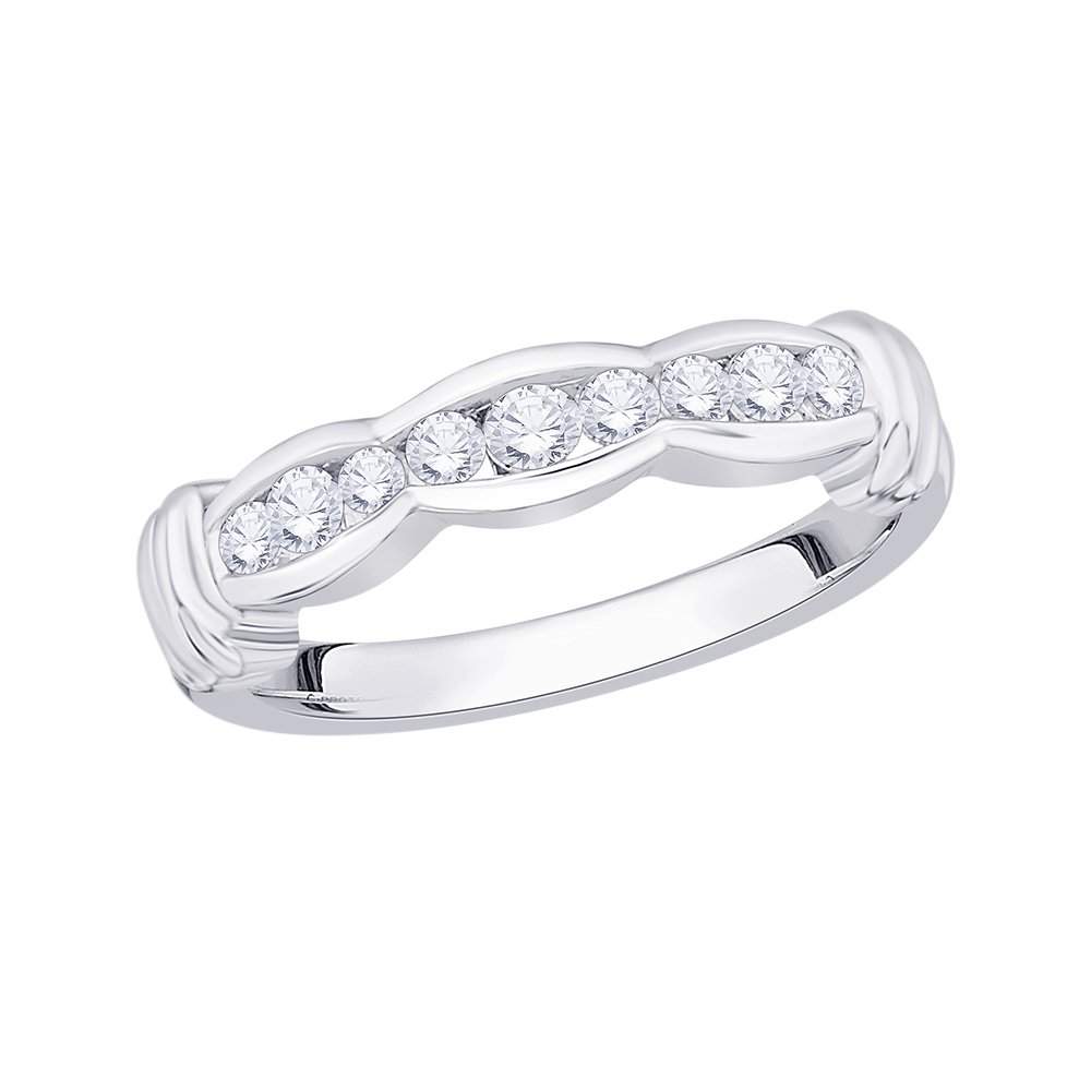 Diamond Wedding Band in Sterling Silver 1//3 cttw, G-H,I2-I3 Size-9.5