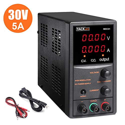 DC Power Supply Variable, Switching DC Regulated Power Supply with 4 Digital LCD Display (0-30V/0-5A), Reverse Polarity/High Temperature Protection, 110V/115CM Alligator Leads Included - MDC01