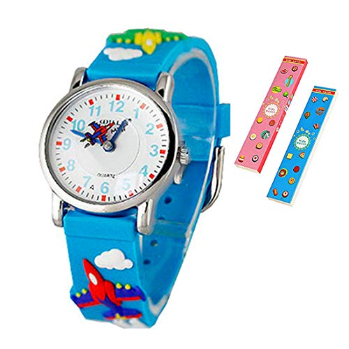 Toddler Kids Children Watch,3D Cute Cartoon Silicone Band Wristwatches Time Teacher Gifts Watches for Kids Girls ()