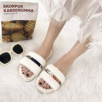 WXMTXLM Zapatillas femeninas de otoño e invierno caseras cintas de colores cálidas de fondo plano antideslizantes antideslizantes cómodas comodas palabra ...