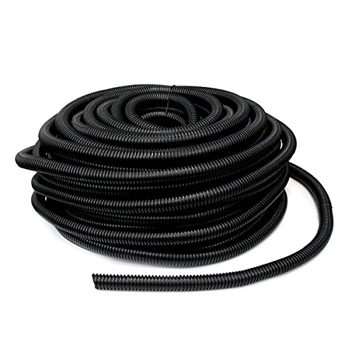 YXQ 100 Feet 1/2-inch ID Corrugated Tubing Tube Plastic Bellows Pipe Black Preservative Electric Conduit Liquid Wire Loom Cable Cover Sleeve by YXQ