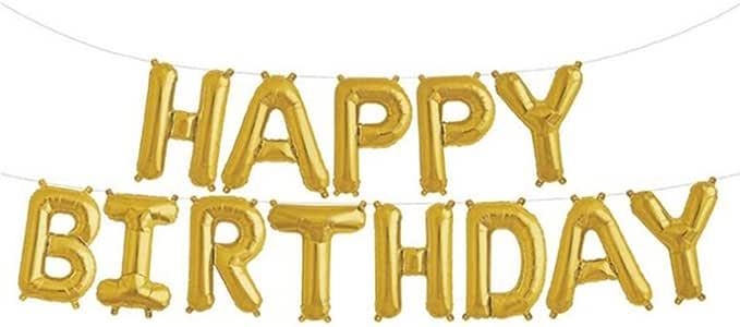 """Happy Birthday Letter Foil Mylar Balloon, 16"""" Gold Balloon"""
