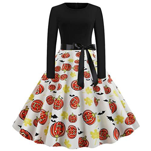 Halloween Dresses Womens Long Sleeve Cocktail Swing Dress Skeleton Pumpkin Printed Cosplay Party Costume ()