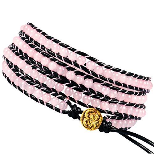 (TUMBEELLUWA Wrap Bracelets Beads Bohemian Woven Leather Friendship Bracelet Healing Crystal Stone Jewelry,Rose Quartz)