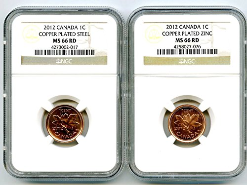 2012 Royal Canadian Mint Canada TWO COIN COPPER PLATED STEEL AND ZINC SET Last Year Of Issue NGC MS66