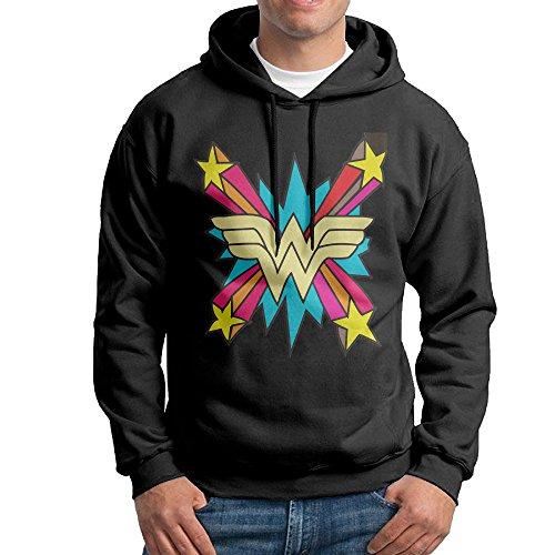 [Bekey Men's Wonder Girl Logo Pullover Hoodie Sweatshirt S Black] (Ign Batman Costume)