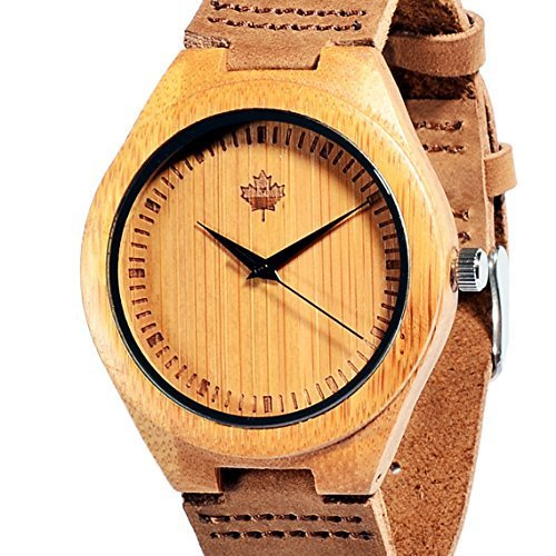 Tamlee Bamboo Wood Watch with Cow Leahter Strap Quartz Analog