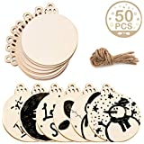 "AerWo 50pcs 3.5"" DIY Round Wood Slices with 50pcs Twines, Natural Unfinished Christmas Wooden Circles Crafts for Christmas Ornaments"
