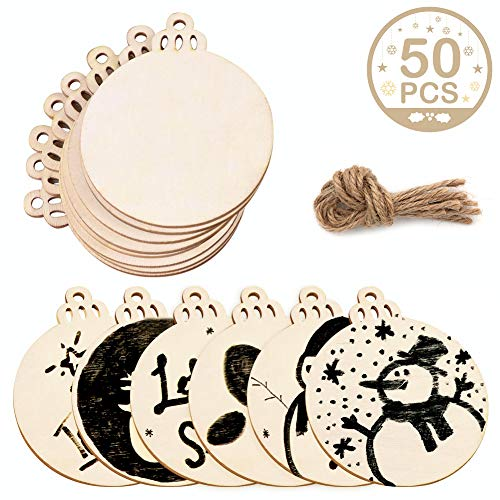 AerWo 50pcs 3.5 DIY Round Wood Slices with 50pcs Twines, Natural Unfinished Christmas Wooden Circles Crafts for Christmas Ornaments