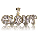 HECHUANG Micropave Simulated Diamond Iced Out Bling Custom Bubble Letters Pendant with Tennis Necklace (CLOUT Pendnat)