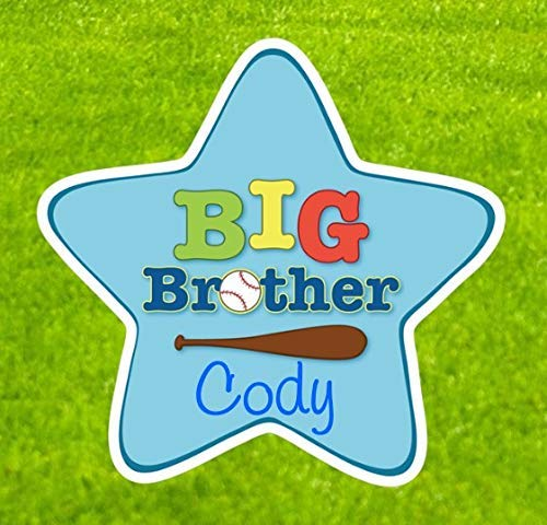 Custom Big Brother Sibling Star for Stork Yard Sign - The Perfect Addition to Your Lawn Birth Announcement Display - New Baby Arrival Decoration - Baseball Sport Theme - Blue ()