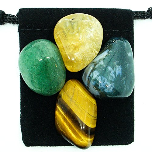 - The Magic Is In You Abundance & Prosperity Tumbled Crystal Healing Set with Pouch & Description Card - Aventurine, Citrine, Moss Agate, and Tiger's Eye