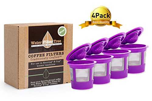 Water Filter Tree Compatible Coffee Filters Replacement for Keurig 1.0 & 2.0 Reusable K-cup Coffee Filters, K200, K250, K300, K350, K400, K450, K460, K500, K550 and 1.0 Brewers - KF-007A4-4 pack