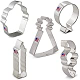 Birthday Cookie Cutters Set - 5 piece - Balloon, Party Hat, Cupcake, Candle, Confetti - Ann Clark - Tin Plated Steel